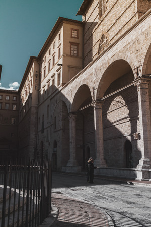 Medieval arcs in the town square in Perugia, Italy