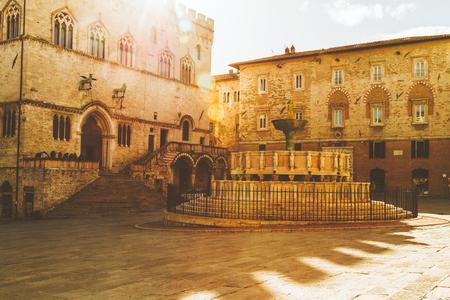 Fontana Maggiore Square in Perugia, Italy Reklamní fotografie - 100585794