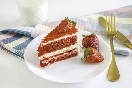 Red velvet cake set for a nice dessert
