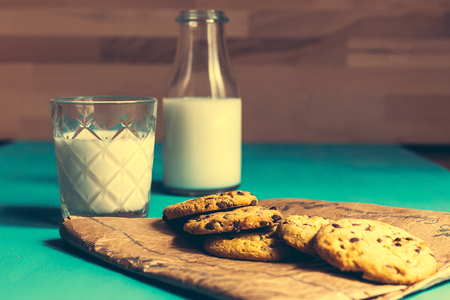 Vintage cookies and milk