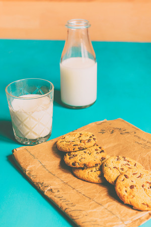 Teal cookies and milk