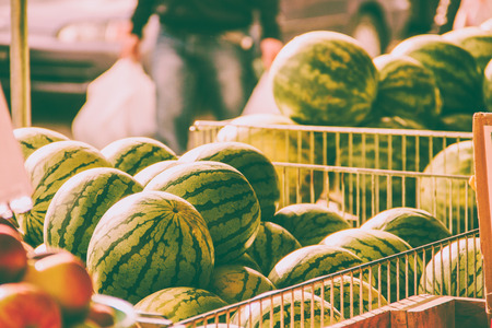 Watermelons in a local market