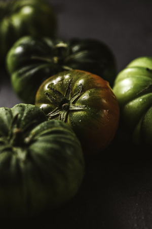 Moody close-up of green tomato