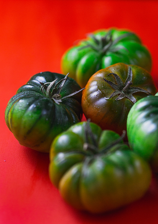 Juicy green tomatoes in a red background