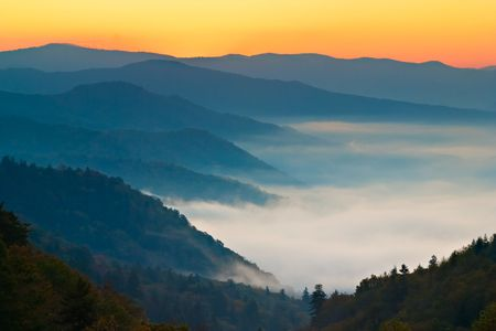 newfound gap: Newfound Gap Sunrise, Great Smoky Mountains National Park Stock Photo