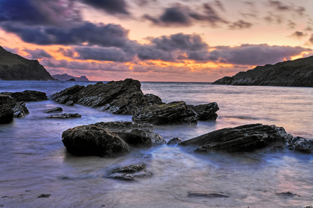 kerry: sunset at clogher head on the dingle peninsula co. kerry Stock Photo