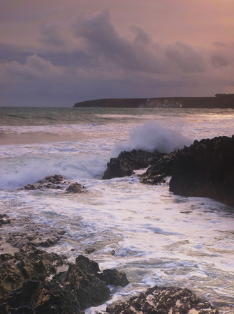 choppy: darkening skys and choppy sea before a storm