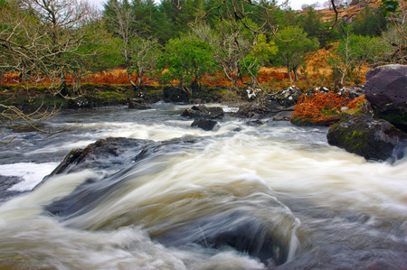 rushing water: fast flowing river in the Kerry Mountains