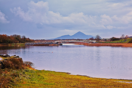 lough: Lough Lannagh,Castlebar,Co.Mayo, Ireland with Croagh Patrick mountain in background Stock Photo