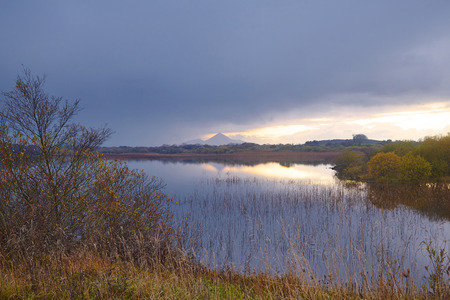 lough: sunrise on Lough Lannagh,Castlebar,Co.Mayo, Ireland with Croagh Patrick mountain in background