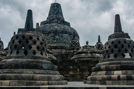 Perforated stupas of Borobudur Temple, Yogyakarta, Indonesia Stock Photo