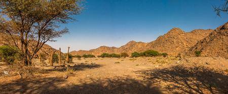 サウジアラビア、リヤド州ワディ・マッサルのパノラマ 写真素材