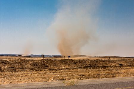 Whirlwinds in a desert valley, Riyadh Province, Saudi Arabia