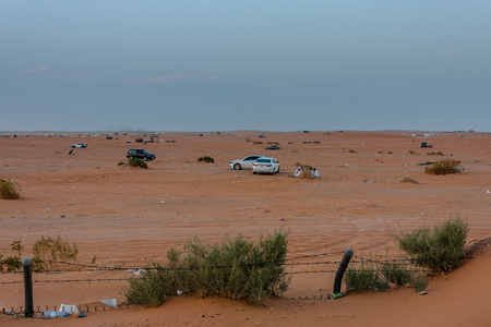 Local Saudi people camping in the desert near Riyadh on a weekend