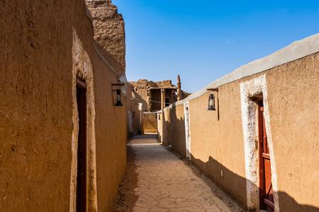 Partially restored traditional mudbrick houses near the Munikh Castle Archeological Site, Al Majmaah, Saudi Arabia