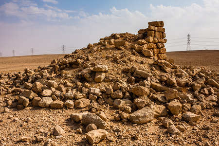 A ruined outpost near Abu Jifan Fort, Riyadh Province, Saudi Arabia Stock Photo