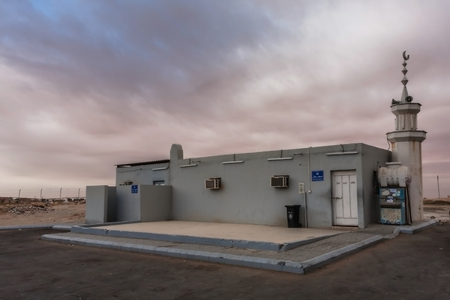 A roadside mosque at a petrol station near Riyadh, Saudi Arabia Stock Photo