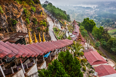 A view from the Pindaya Caves on the surroundings, Shan State, Myanmar Stok Fotoğraf