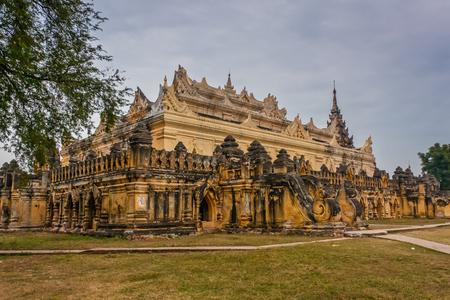 A view of Mahar Aung Mye Bon San Monastery, Inn Wa, Myanmar 스톡 콘텐츠 - 96199408