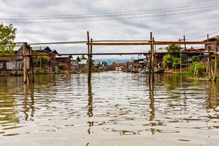 A village on the Inle Lake, Myanmar Editorial