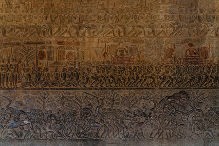 A fragment of wall carvings of Angkor Wat, Siem Reap, Cambodia Stock Photo