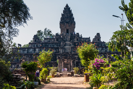 Bakong is the first temple mountain of sandstone constructed by rulers of the Khmer Empire