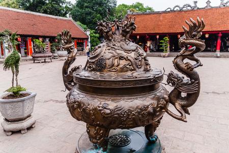 A courtyard of the Temple of Literature - Van Mieu, Hanoi Stock Photo