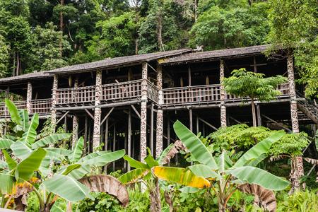 The ethnic orang ulu longhouse, Sarawak, Borneo