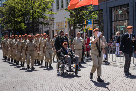 Dutch veterans of the international forces marching at the parade on the 2018 Veterans' Day in The Hague