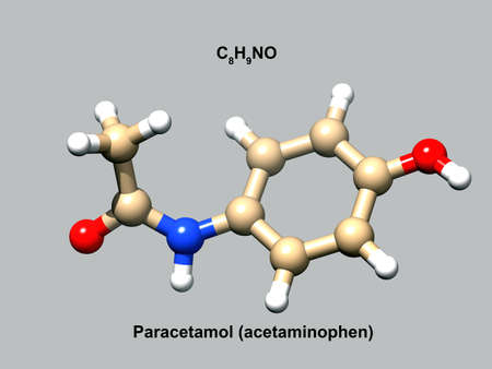 Structure of paracetamol (acetaminophen), a 3D ball-and-stick model, gray background