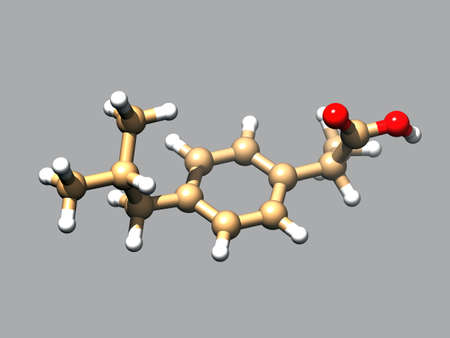 Structure of ibuprofen, a 3D ball-and-stick model, gray background Imagens