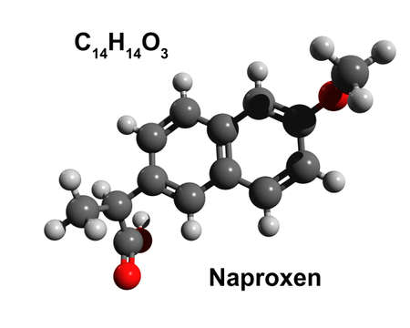 Structure of naproxen, a 3D ball-and-stick model, white background