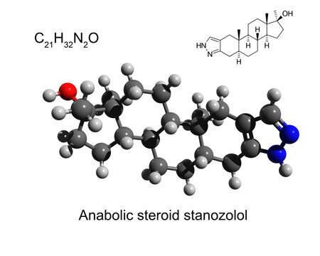 Chemical formula, structural formula and 3D ball-and-stick model of anabolic steroid stanozolol, white background