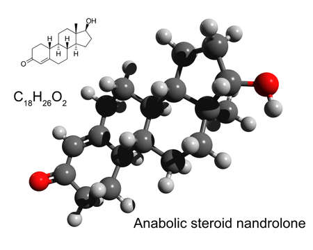 Chemical formula, structural formula and 3D ball-and-stick model of anabolic steroid nandrolone, white background