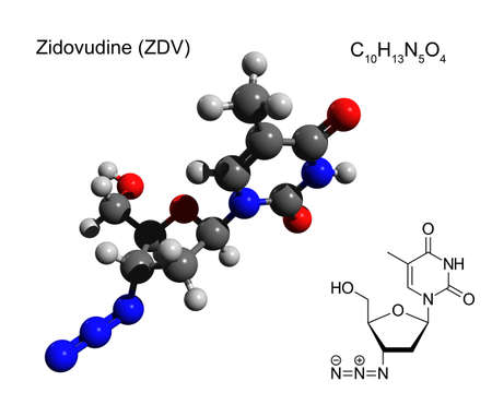 Chemical formula, structural formula and 3D ball-and-stick model of zidovudine (ZDV), also known as azidothymidine (AZT), an antiretroviral medication used to prevent and treat HIV/AIDS Imagens