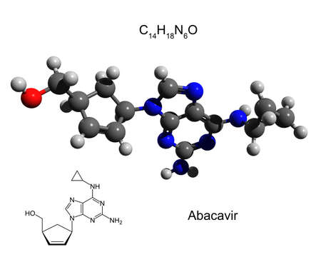 Chemical formula, structural formula and 3D ball-and-stick model of abacavir, an antiretroviral medication used to prevent and treat HIV/AIDS