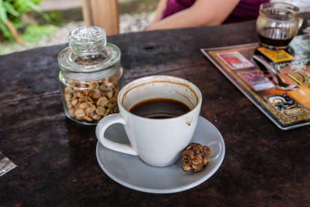 The world-famous brewed luwak coffee and original coffee beans excreted by the civet