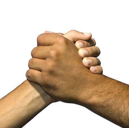 solidaridad: El s�mbolo de la amistad y la paz aislado en fondo blanco  Foto de archivo