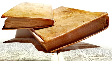 Old Antique Books, Manuscripts, Incunabula, Vintage Aging of the Pages, Background, Parchment, Leather-Bound. Stock Photo