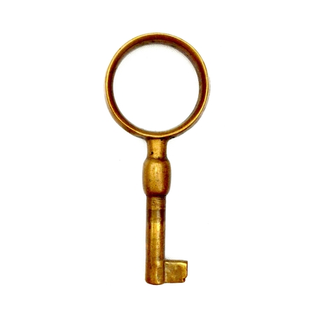 Antique Old KEY isolated on white background, without shadow Stock Photo