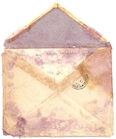 envelope: Antique Old Moldy and Worn Air Mail LETTER ENVELOPE and with Postmarks Postage Stamp, Posted, Back Side