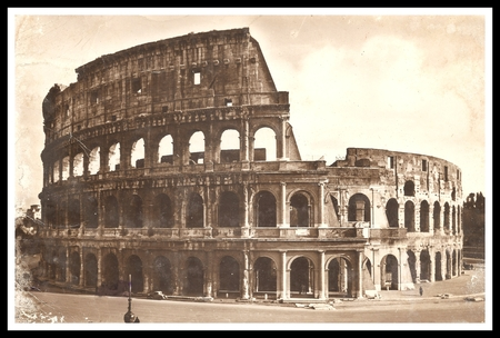 COLOSSEUM ROME ITALY Antiquing Style Photo with black and white frame