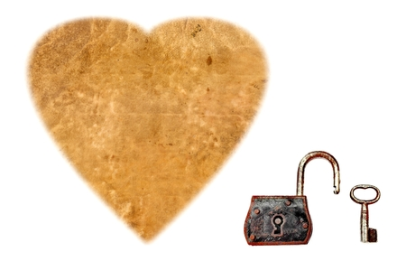 Heart from Sheepskin PARCHMENT PAPER and Antique Padlock of love.