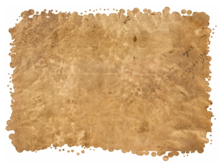 Original Antique Seventeenth Century Sheepskin PARCHMENT PAPER texture isolated on White Background, Particular edges, with space for your design or text. Stock Photo