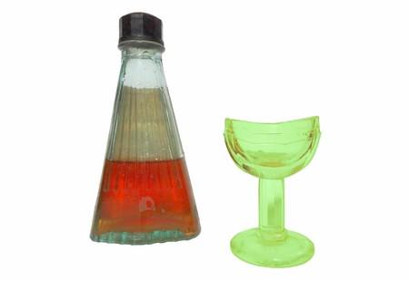 Antique URANIUM COBALT GREEN GLASS EYE WASH and MEDICINE BOTTLE - Vintage Old Pharmacy - Medical Care