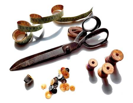tailored: Original Vintage Dressmaker Tailor Wooden Spools, Meters, Buttons, Thimble and Big Scissors