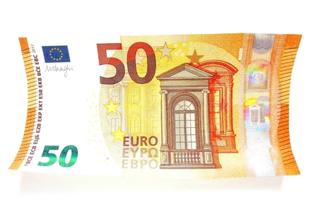 facsimile: 2017 New-look 50 Euro Banknote - Second Series of Fifty Euro Note, Hologram of Mythological Phoenician Princess Europa