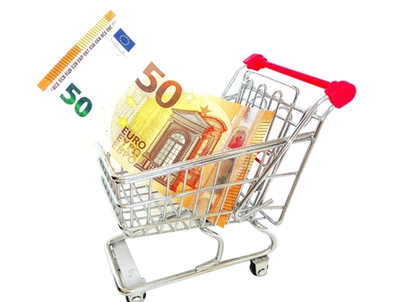 facsimile: WIRE SHOPPING CART with New 50 Euro Banknote Fifty Euro Note 2017 Stock Photo