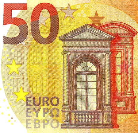 Selective focus of the 2017 New 50 Euro Banknote - Second Series of Fifty Euro Note, Hologram of Mythological Phoenician Princess Europa