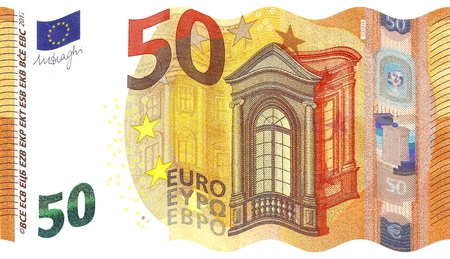 facsimile: Corrugated Style of the 2017 New 50 € Banknote - Second Series of Fifty Euro Note, Hologram of Mythological Phoenician Princess Europa Stock Photo